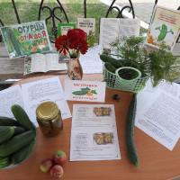 Сотрудники центральной библиотеки в открытом воздухе организовали летний праздник огурца «Все об огурцах».