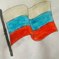 В Верхнекансияровской сельской библиотеке провели конкурс рисунков «Гордо реет флаг России».