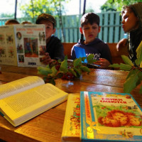 Во дворе Верхнекансияровской сельской библиотеки был организован читальный зал на свежем воздухе «Библиополянка».